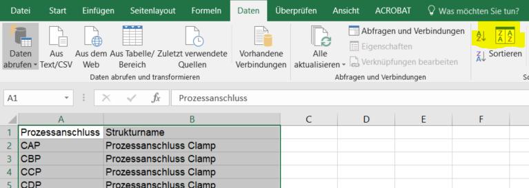 Mappingtabelle alphabetisch sortieren