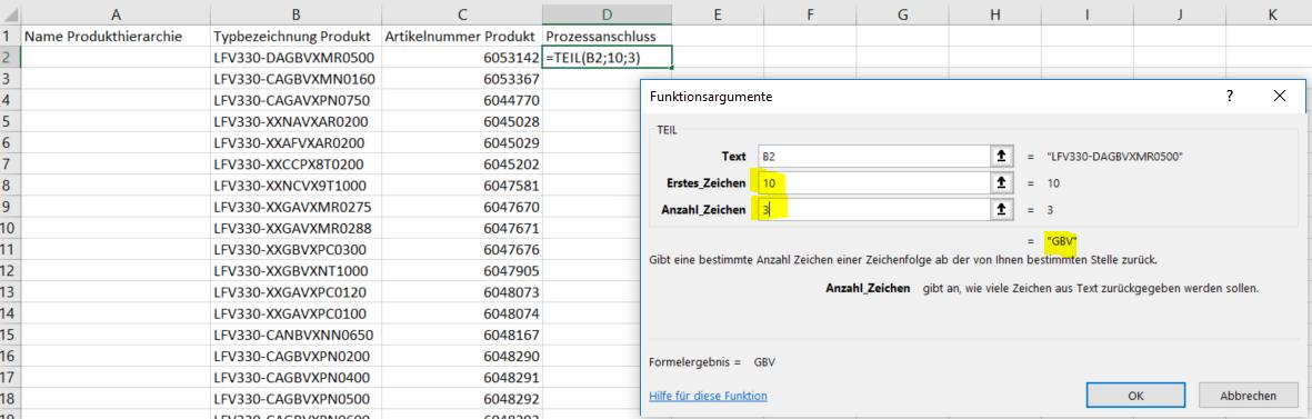 Funktionsargumente für Funktion TEIL eintragen