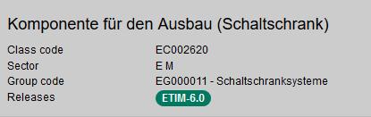 ETIM Klasse EC002620: Komponente für den Schaltschrankausbau