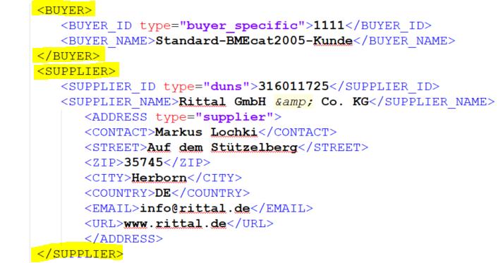 Beispiel für Kunden- und Lieferanteninformation im HEADER-Element von BMEcat