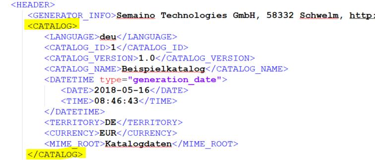 Beispiel für Kataloginformationen im HEADER-Element von BMEcat