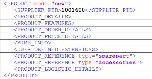 Inhalt des Elements im BMEcat-Beispielkatalog