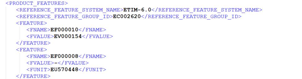 Abschnitt aus dem PRODUCT_FEATURES-Element eines BMEcat-Katalogs