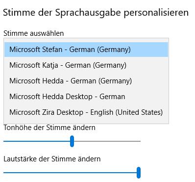Windows10 Einstellung der Sprachausgabe