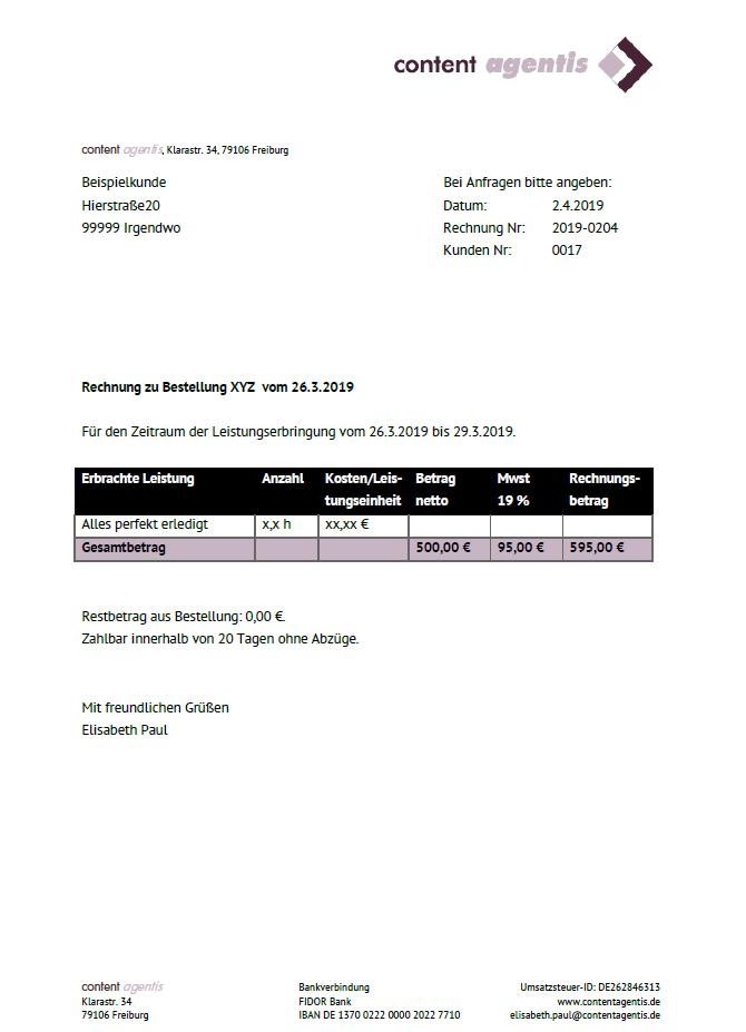 Screenshot der pdf-Rechnung