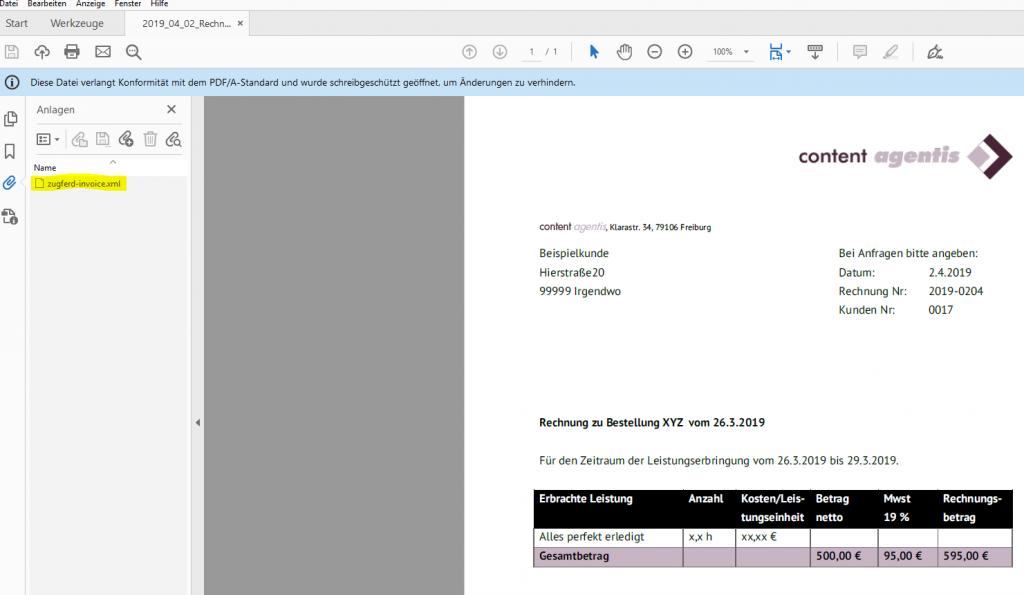 Screenshot der pdf-Rechnung im Format A3
