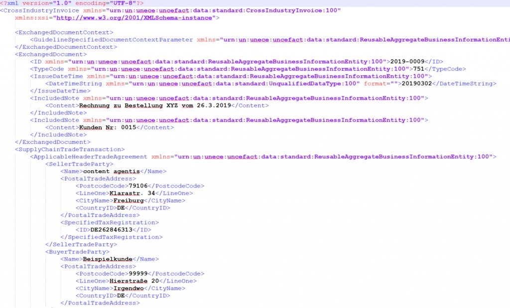 Screenshot der Datei zugferd-invoice.xml des Profils BASIC von ZUGFeRD 2.0